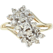 Diamond Bypass Ring - 10k Gold Tiered Cluster Round Brilliant .50ctw