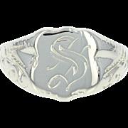 Vintage Initial S Signet Ring - 14k White Gold Women's Size 3 3/4 - 4