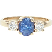 Sapphire & Diamond Ring - 14k Yellow Gold 6 1/2 - 6 3/4 Women's 1.96ctw