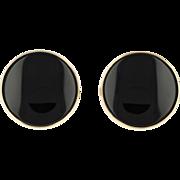 Onyx Cufflinks - 14k Yellow Gold Bold Round Men's Gift