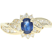 Sapphire & Diamond Bypass Ring - 14k Yellow Gold Oval Brilliant .94ctw