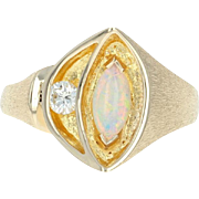 Opal & Diamond Ring - 14k Yellow Gold Marquise Cabochon .51ctw