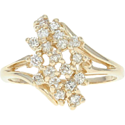 Diamond Cluster Ring Women's Gift Yellow Gold 14k Bypass