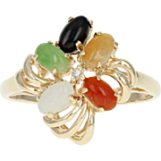 Jadeite Jade, Onyx, & Diamond Cluster Ring - 14k Yellow Gold Size 6 3/4