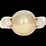 Golden Pearl & Diamond Ring - 14k Yellow Gold Round Brilliant .40ctw