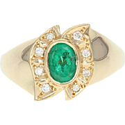 Oval Emerald Ring Diamond Accented Women's Gift Yellow Gold 18k High Karat