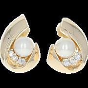 Diamond Accented Pearl Earrings Yellow Gold 14k Women's Gift June