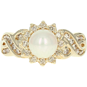 Cultured Pearl & Diamond Ring - 14k Yellow Gold 0.36ctw Woven