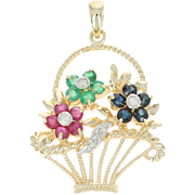 Multi-Gemstone & Diamond Basket Pendant - 14k Yellow Gold 0.86ctw Flowers