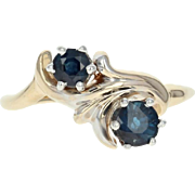 Vintage Sapphire Bypass Ring - 14k Yellow Gold Round Cut 1.09ctw