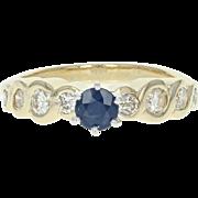 Sapphire & Diamond Engagement Ring - 14k Yellow Gold Round Cut 1.06ctw