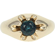 Men's Sapphire Ring - 14k Yellow Gold Size 10 - 10 1/4 Round Cut 1.28ct