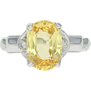 Vintage Synthetic Yellow Sapphire & Diamond Ring - 14k White Gold 3.55ctw