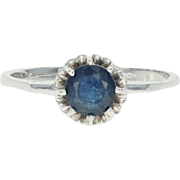 Vintage Sapphire Solitaire Ring - 18k White Gold Engagement Round Cut 1.22ct