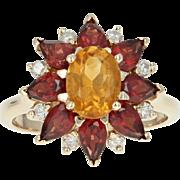 Citrine, Garnet, & Diamond Floral Halo Ring - 14k Gold Oval Brilliant 3.45ctw