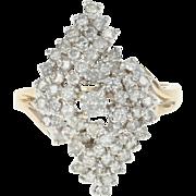 Diamond Cluster Swirl Ring - 14k Yellow Gold Bypass Round Brilliant 1.05ctw