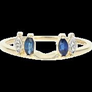 Sapphire & Diamond Enhancer Wedding Band - 14k Gold Guard Ring Marquise .25ctw