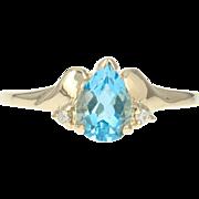 Blue Topaz & Diamond Ring - 10k Yellow Gold Pear Brilliant .92ctw