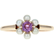 Vintage Amethyst & Cultured Pearl Floral Halo Ring - 14k Yellow Gold .18ct