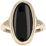 Vintage Onyx Solitaire Ring - 10k Yellow Gold Milgrain Size 7 1/4