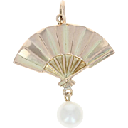 Folded Fan Pendant - 14k Yellow Gold Cultured Pearl Drop Accent