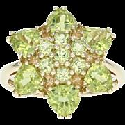 Peridot Flower Blossom Ring -10k Gold Cluster Round & Trillion Brilliant 3.50ctw