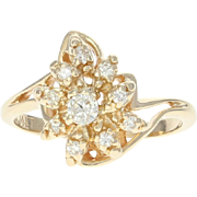 Diamond Cluster Bypass Ring - 14k Yellow Gold Round Brilliant .21ctw