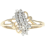 Tiered Diamond Bypass Ring - 14k Yellow Gold Round Brilliant .23ctw