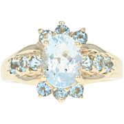Aquamarine Ring - 10k Yellow Gold Size 5 Oval Brilliant 1.90ctw