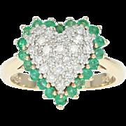 Diamond & Emerald Heart Halo Ring - 14k Yellow Gold Cluster Single Cut 1.22ctw