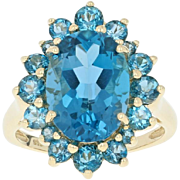 London Blue Topaz Halo Ring - 14k Yellow Gold Oval Brilliant 9.15ctw