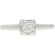 Vintage Diamond Solitaire Engagement Ring - 14k White Gold Round Brilliant .18ct