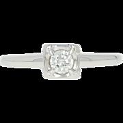 Vintage Diamond Solitaire Engagement Ring - 14k White Gold Round Brilliant .18ct