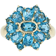 London Blue Topaz Cluster Halo Ring - 14k Yellow Gold Oval Brilliant 4.50ctw