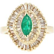 Emerald & Diamond Halo Ring - 14k Yellow Gold Marquise Brilliant 1.44ctw