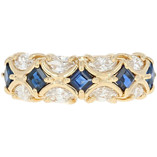 Sapphire & Diamond Band Ring - 18k Yellow Gold Marquise 1.44ctw