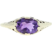 Vintage Amethyst Solitaire Ring - 14k Yellow Gold Oval Brilliant 1.25ct