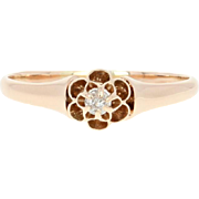 Victorian Flower Blossom Ring - 10k Rose Gold Antique Engagement Diamond Accent
