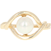 Cultured Pearl Ring - 14k Yellow Gold 6.5mm Solitaire Women's Size 6 1/4