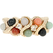Multi-Gemstone Bead & Glass Ring - 14k Yellow Gold Onyx Pink Opal Jadeite Jade