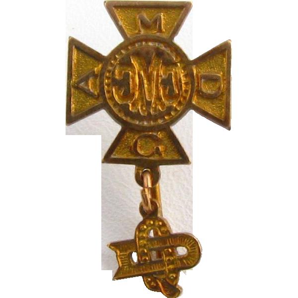 Vintage Mystery Fraternal Cross Stickpin - AMDG CMC DQ 10k Yellow Gold