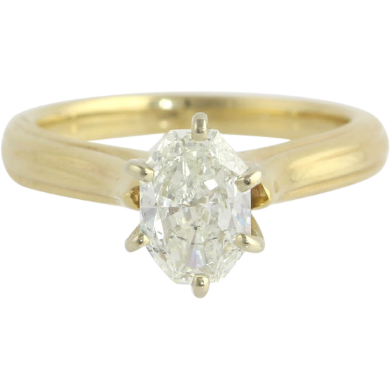 1.02ct Vintage Dahlia Cut SI Diamond Engagement Ring & Wedding Band Set - 14 Yellow Gold
