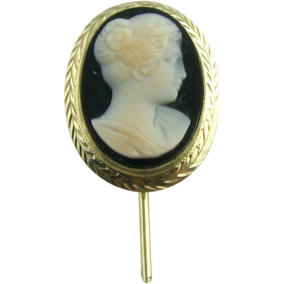 Vintage Cameo Stickpin Hardstone Agate Hand Carved - 14k White Gold Silhouette