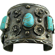 Authentic Native American Real Turquoise Cuff Bracelet - Silver Hand Wrought SLI