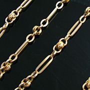 "24"" Antique Hefty Watch Chain Necklace - 14k Solid Yellow Gold 22.7g Vintage"