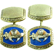 Shriners Masonic c.1910-20s Diamond Enameled Vintage Cufflinks Men's - 14k Gold