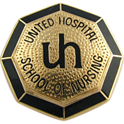 Vintage United Hospital School of Nursing Pin - 14k Solid Yellow Gold Badge UH
