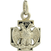 Scottish Rite Masonic Fob Pendant - 14k White Gold Vintage Mason 32nd Degree