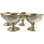 Authentic Set of Four Sterling Silver Tiffany & Co. Open Salt Dishes - 284.5g Vintage