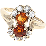 Vintage Citrine & Quartz Ring - 10k Yellow Gold Bypass Round Brilliant 1.15ctw